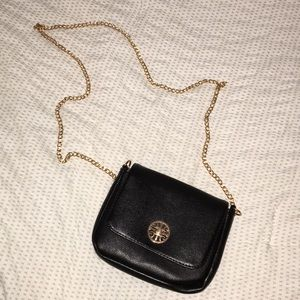 Black leather and gold accent Bag